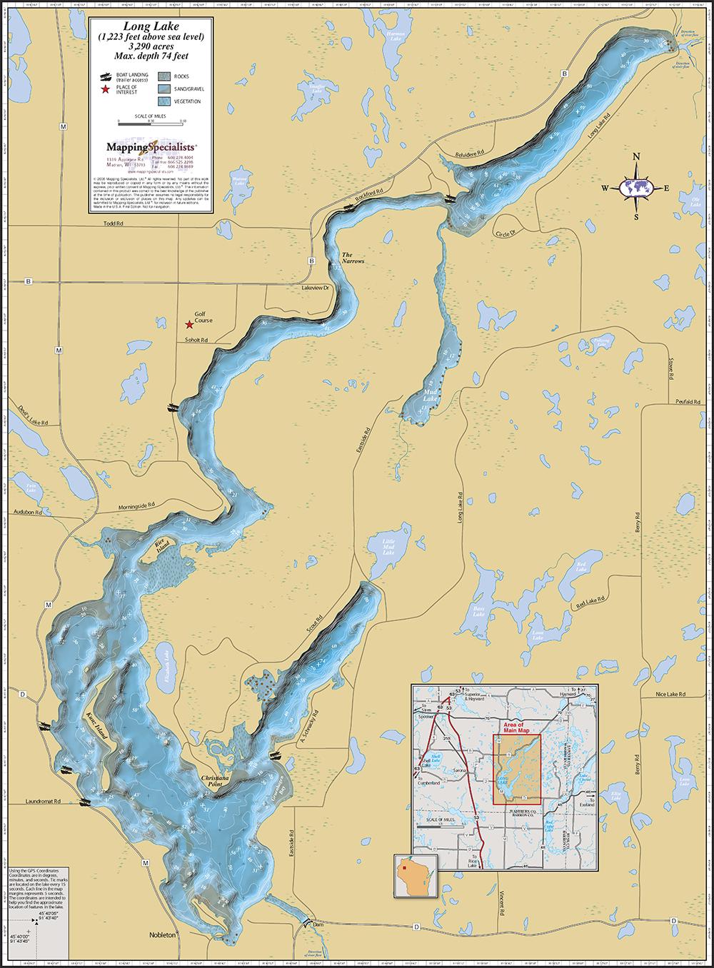 Long lake washburn co wall map for Fishing lake maps