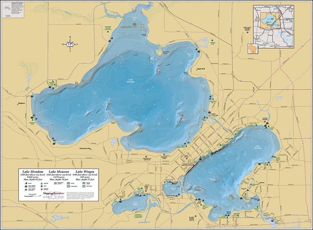 lake monona depth map Lake Mendota Lake Monona Wall Map lake monona depth map