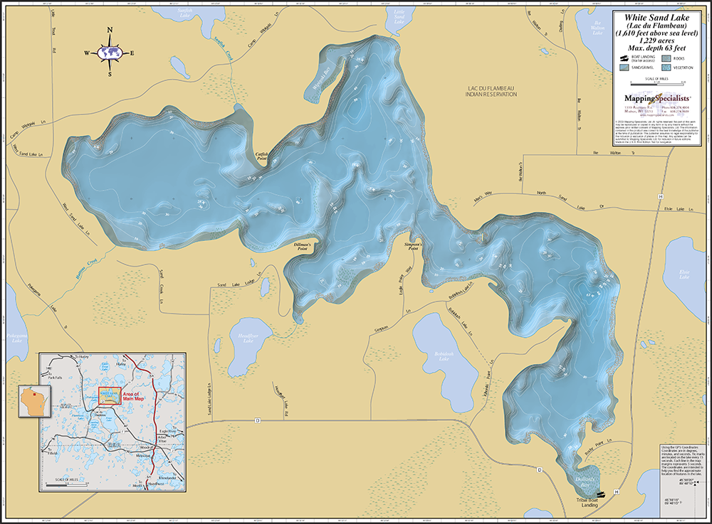 White Sand Lake Lac Du Flambeau Wall Map - Pokegama lake map