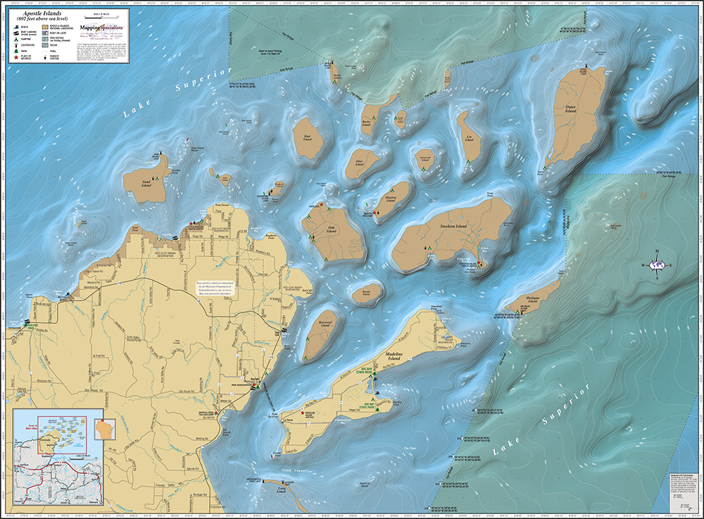 Apostle Islands Wall Map - Wall maps