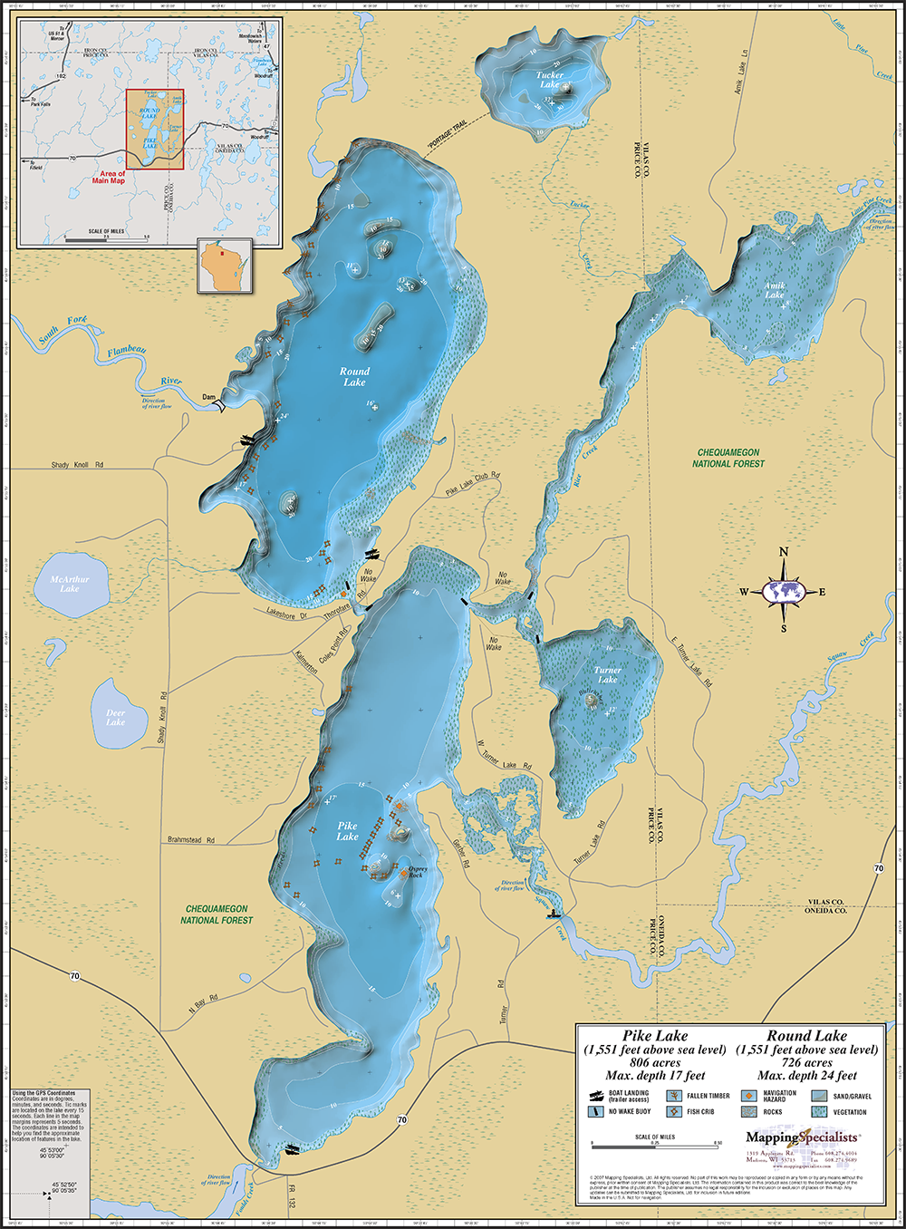 Pike And Round Lakes Wall Map