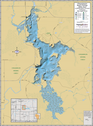 Chequamegon Waters Flowage (Miller Dam) Wall Map