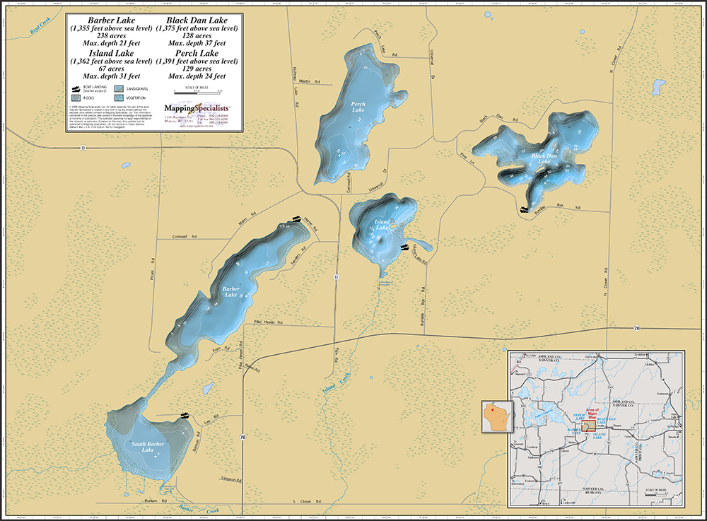 Barber Lake Wi : Barber Lake Wall Map