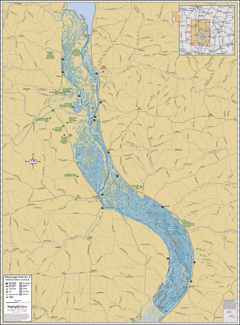 Map Of Mississippi River Mississippi River (Pool 9) Wall Map Map Of Mississippi River