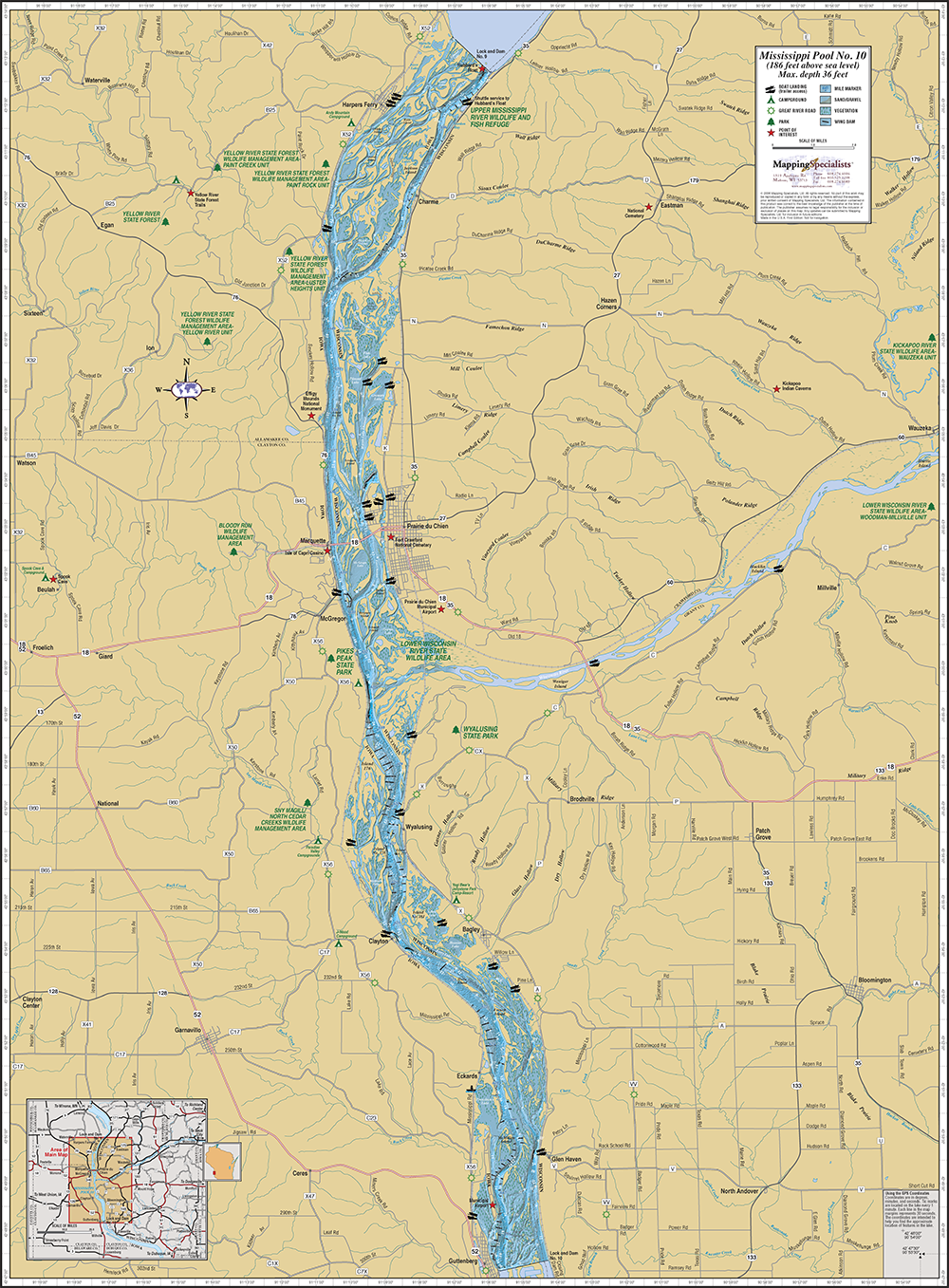 Mississippi River Wisconsin Map Mississippi River (Pool 10) Wall Map