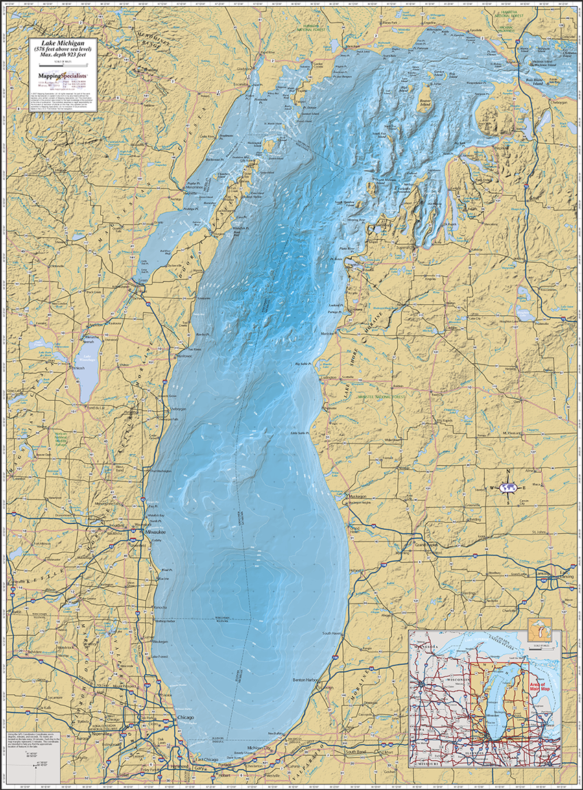 Map Of Lake Michigan Lake Michigan Wall Map