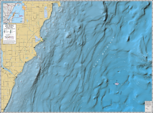 Lake Michigan (Baileys Harbor to Sturgeon Bay) Wall Map