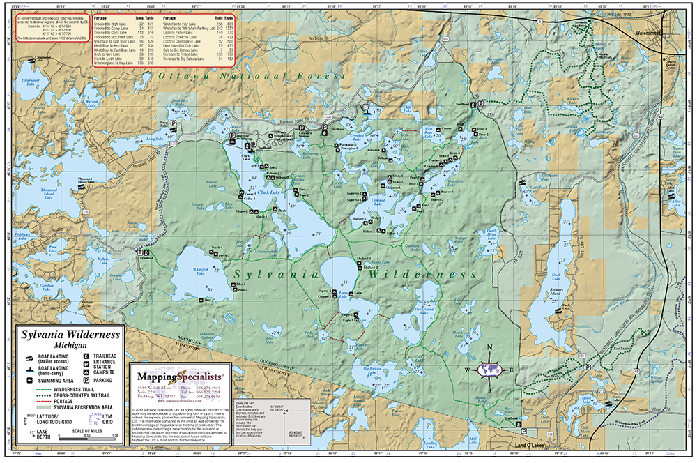 Sylvania Wilderness Fold Map