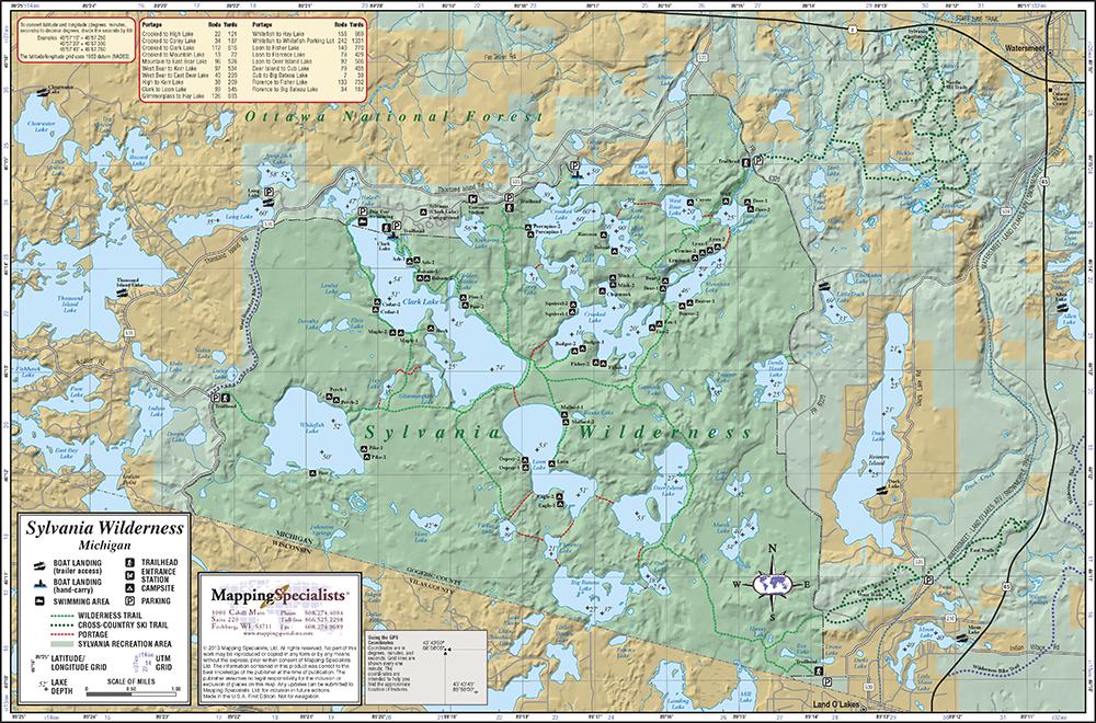 Sylvania Wilderness Map Sylvania Wilderness Map