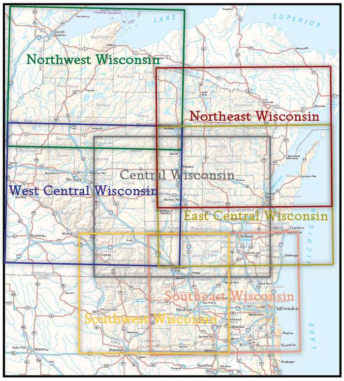 National Geographic Wall Map Of Central Wisconsin