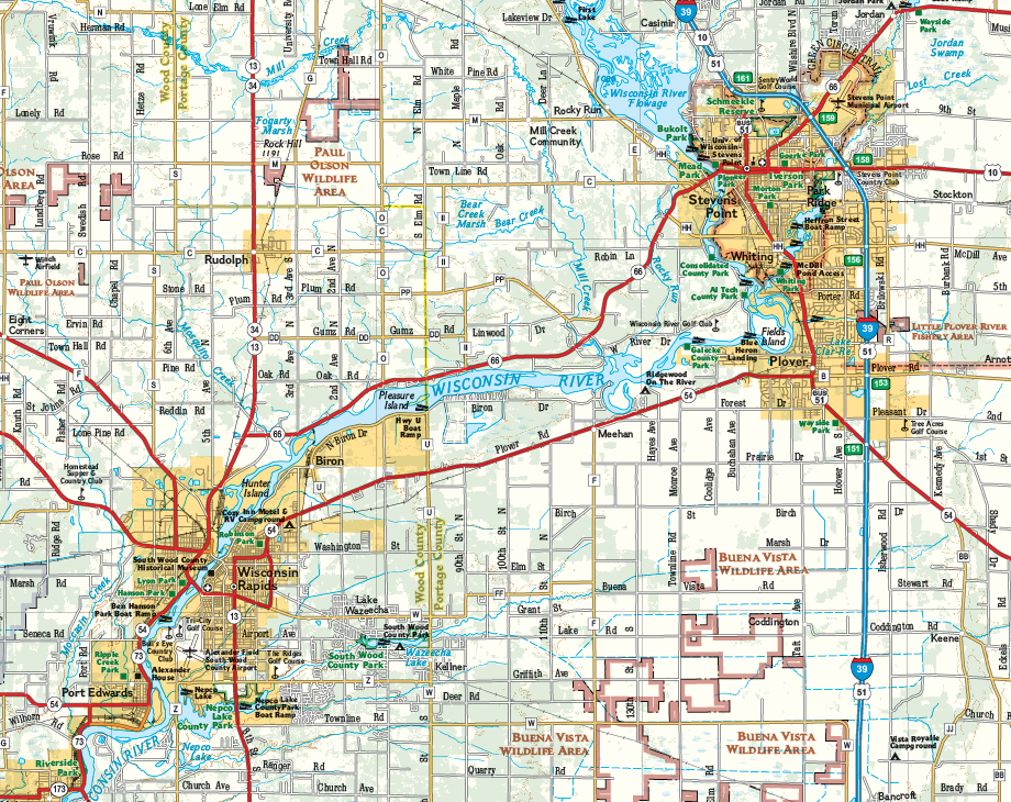 National Geographic Wall Map Of Central Wisconsin - Map of wisc